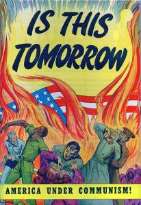 Anti-communist propaganda in a 1947 comic book published by the Catechetical Guild Educational Society warning of
